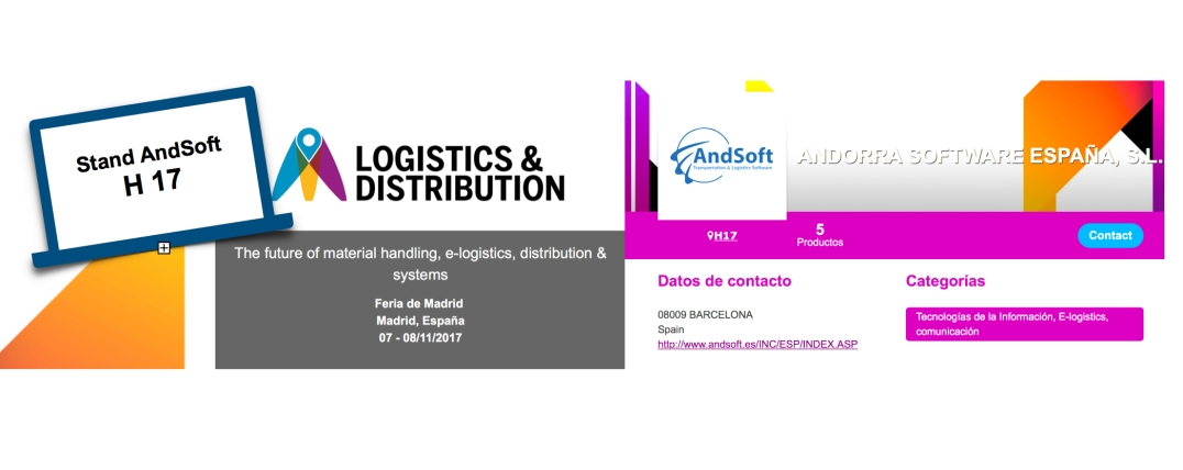 AndSoft en Logistics Madrid 2017 stand H17