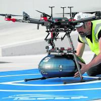El Grupo Sesé está entregando con drones a Seat piezas de automoción desde Abrera a Martorell (Barcelona)