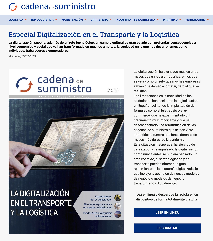 Análisis publicado en Cadena de Suministro: Especial sobre #digitalización en el #transporte y la #logistica