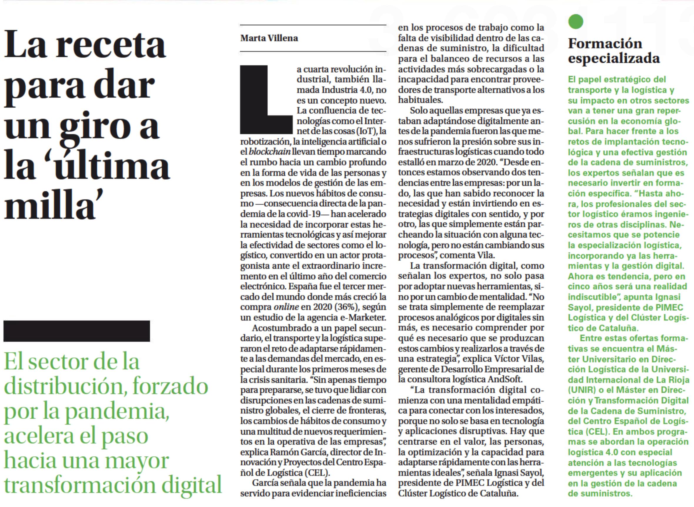 Participación en reportaje del periódico El País sobre la transformación digital del sector logístico